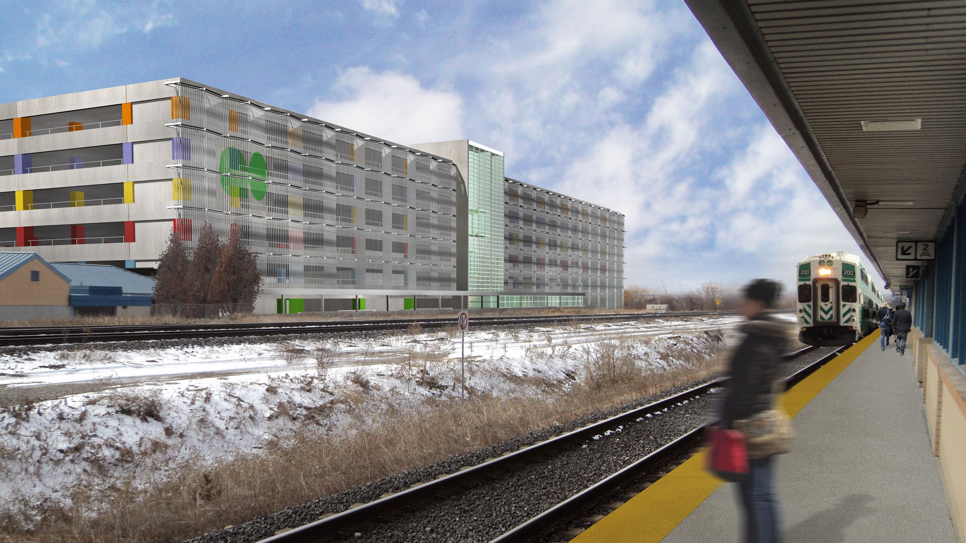 Exterior rendering of the railway platforms, showing the parking structure in the back