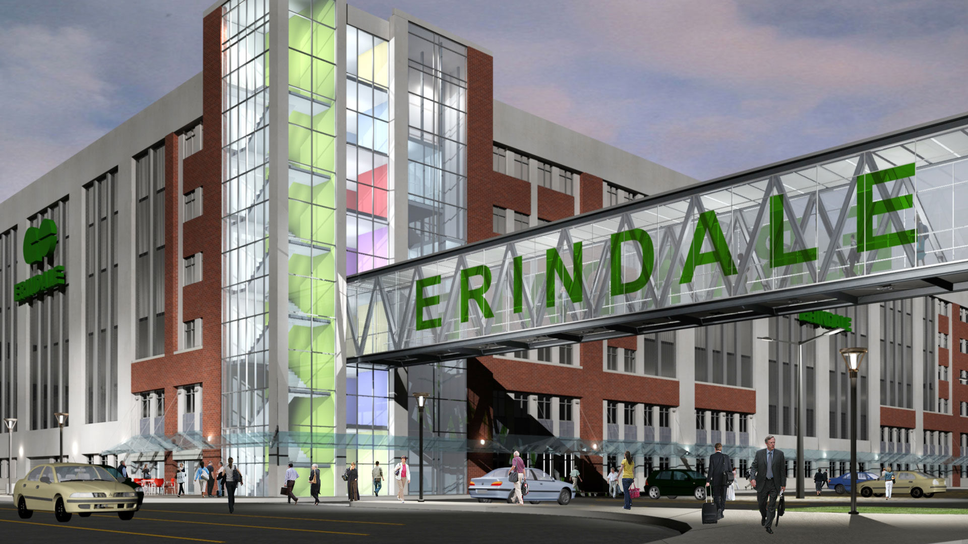 Exterior rendering of the parking structure and pedestrian bridge