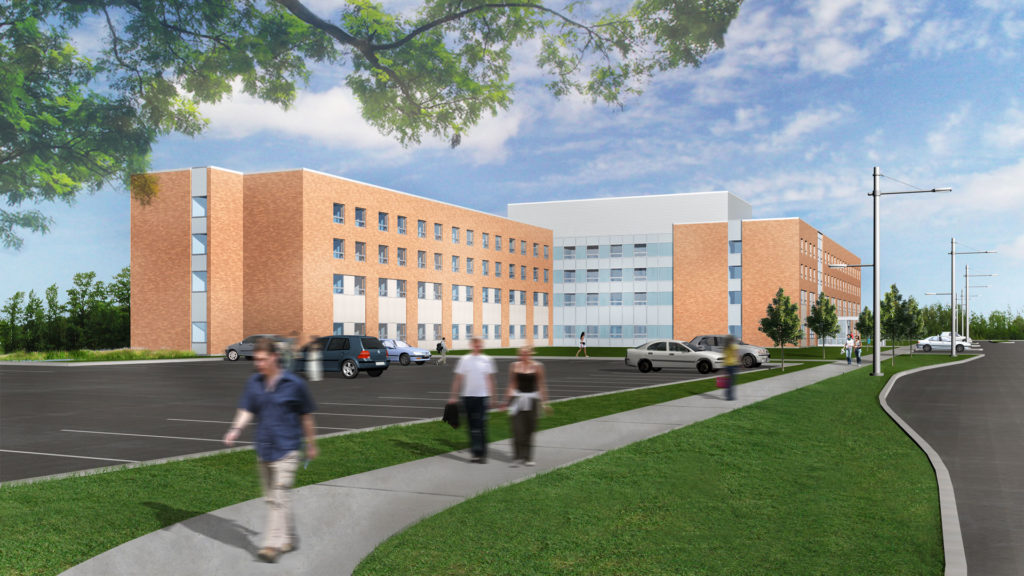 Exterior rendering of the building with parking lot in the front