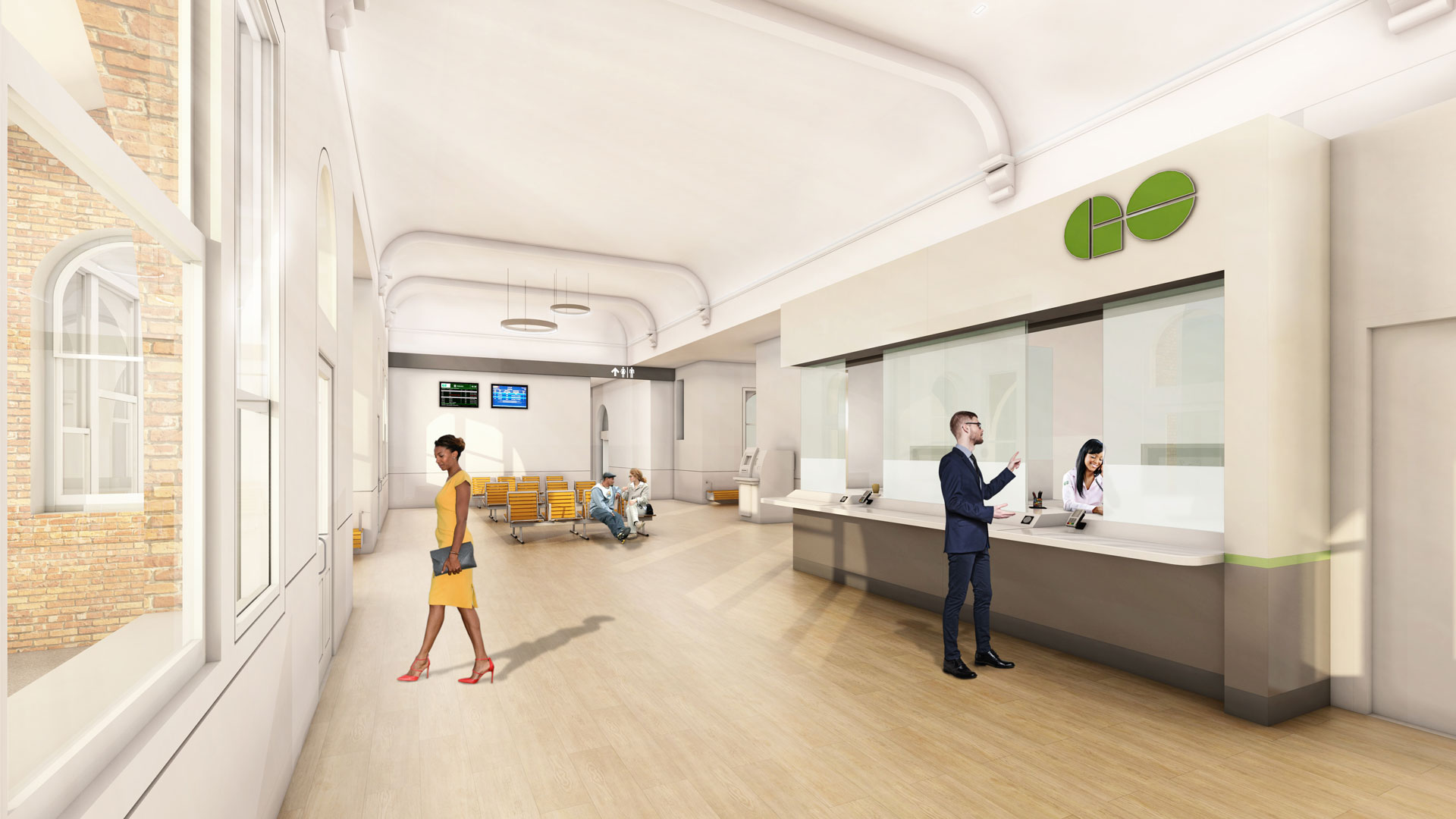 Interior rendering of the station, showing the ticket kiosk and waiting area