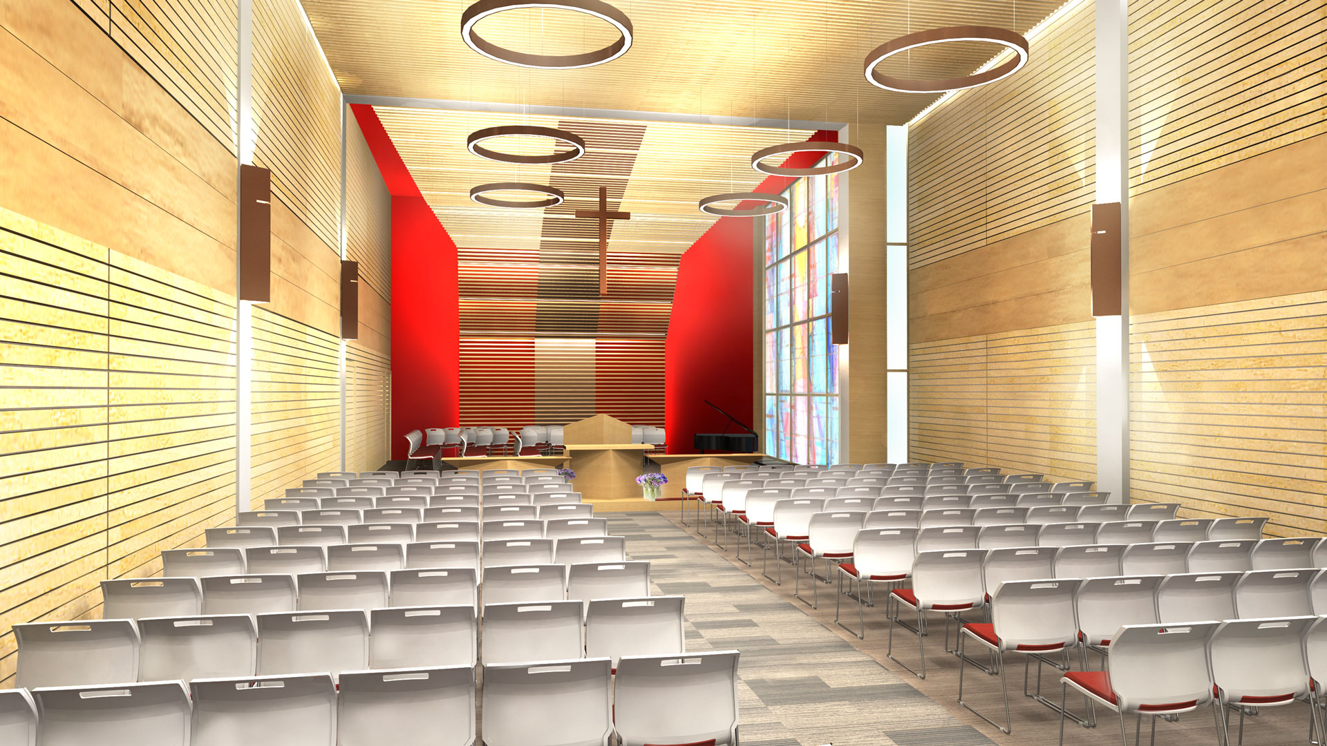 Interior rendering of the church, showing the stage and sitting areas.