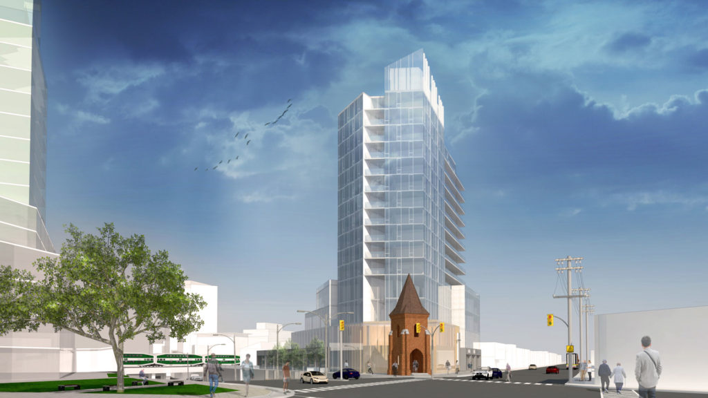 Rendering of the building showing the historic church and streets intersection