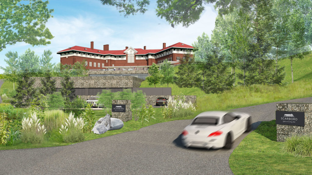 Exterior rendering of the country club building and landscape