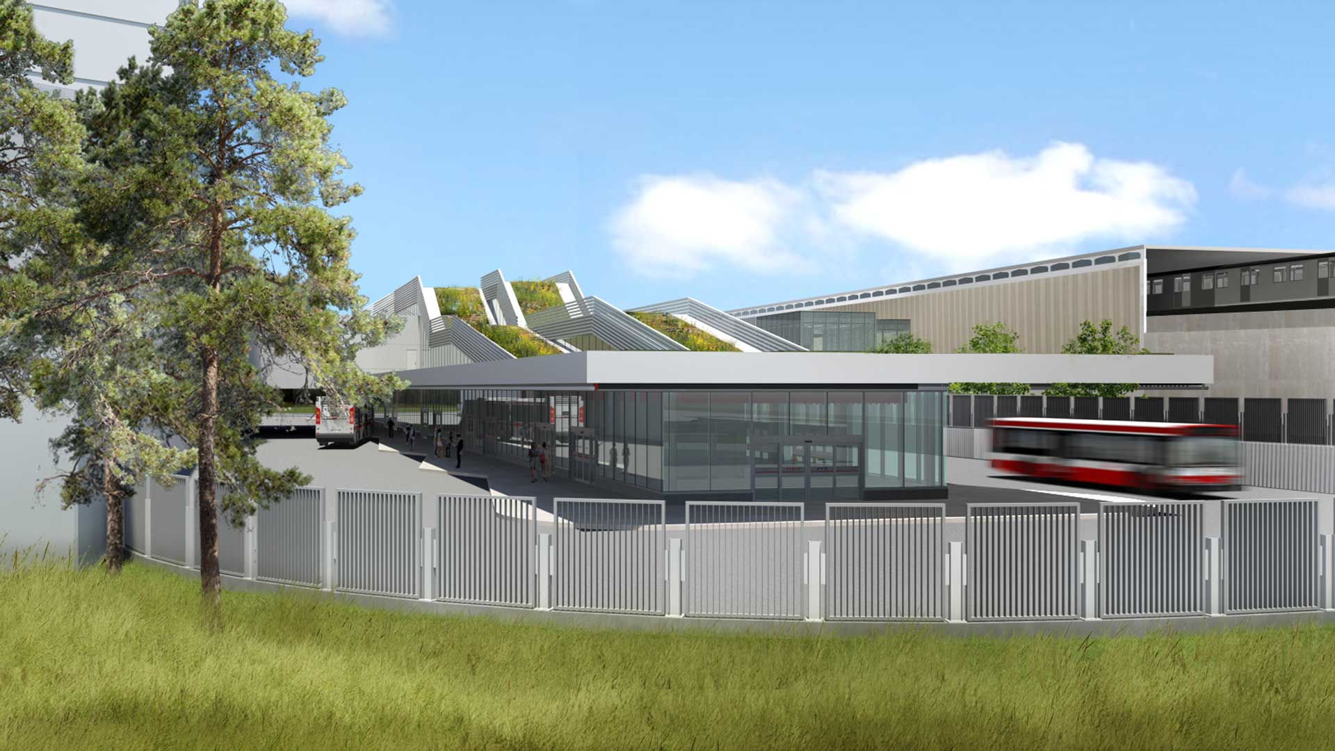 Exterior rendering of TTC Warden Station, showing busses within the station