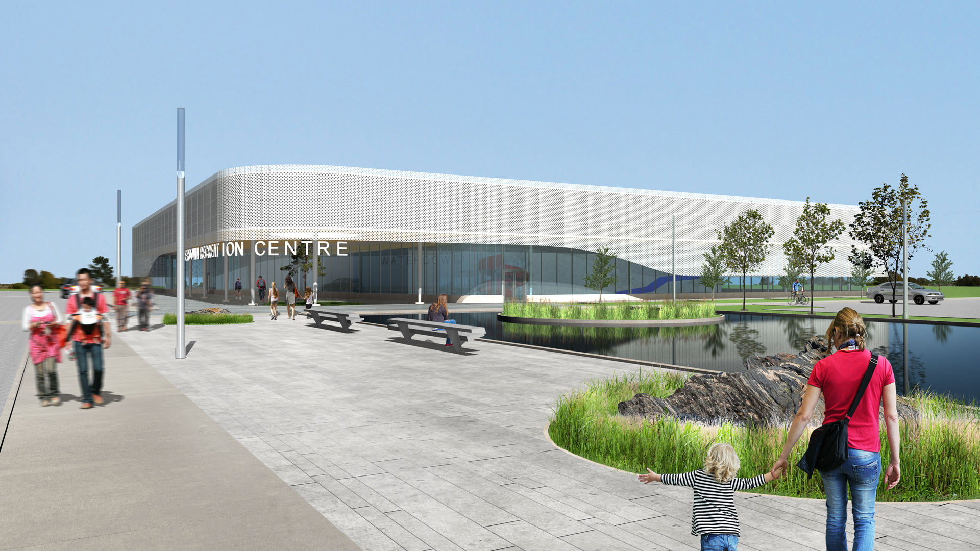 Exterior rendering of the building showing the entrance, pond and landscape