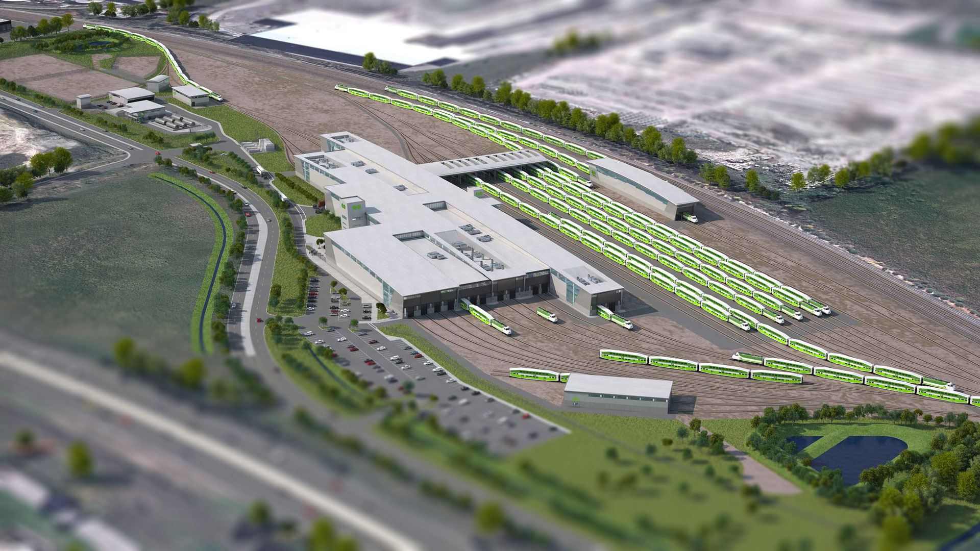Aerial view of Metrolinx East Rail Maintenance Facilities